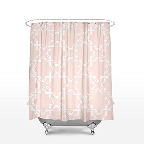 Vandarllin Geometric Trellis Pattern Fabric Shower Curtains Modern Bathroom Decor DesignsExtra Long 72