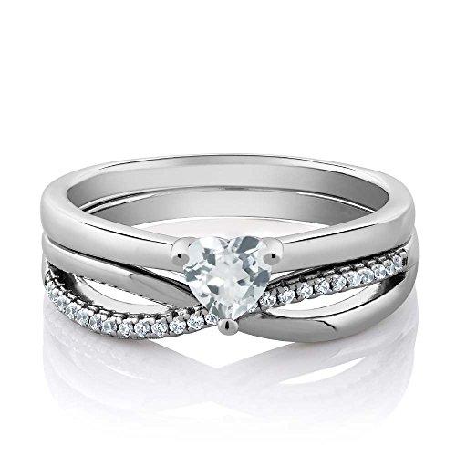 Sterling Silver Sky Blue Aquamarine Gemstone Birthstone Engagement Wedding Ring Set (0.68 Carat, Heart Shape , Available in size 5, 6, 7, 8, 9)