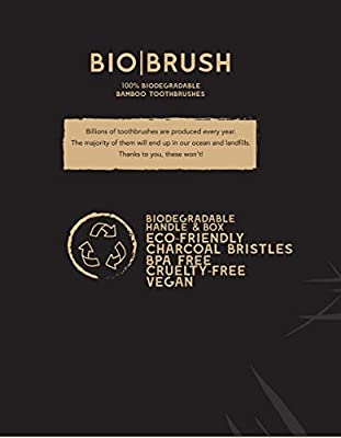 Charcoal Bamboo Toothbrush by Bio Brush: Biodegradable Wooden Toothbrush With Soft PBA Free Nylon Bristles For Sensitive Gums – Beautiful Eco-Friendly Tooth Brush With Comfortable Handle