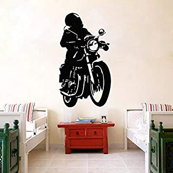 Amazon Com Motorcycle Man Wall Stickers European Wallpaper