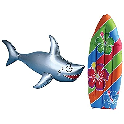 Inflatable Surf Board and Shark Luau Decoration Theme Beach Pool Toy: Toys & Games