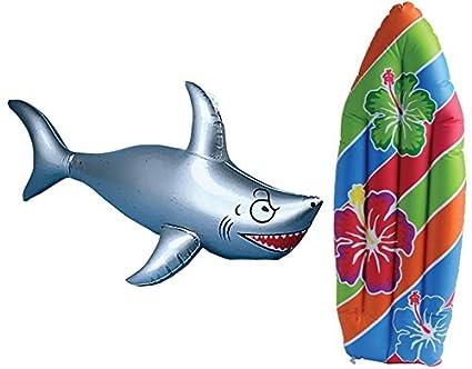 Amazon.com: Hinchable Tabla de surf y Shark Luau decoración ...