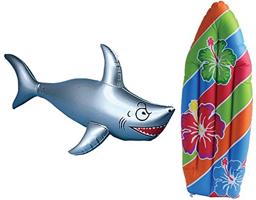 Inflatable Surf Board and Shark Luau Decoration Theme Beach Pool Toy ()