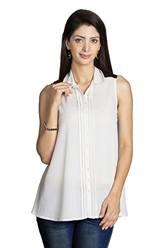MOHR Women's Sleeveless Shirt with Pleated Button Placket X-Large Off White by MOHR - Colors of India