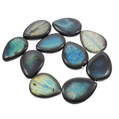 1pc Blue Milky White Teardrop Drop Dragon Veins Agate Natural Gemstone Stone Large Beads Focal Pendant 32mm x 42mm Hole ()