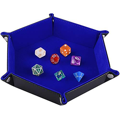 SIQUK Double Sided Dice Tray Folding Hexagon PU Leather and Dark Blue Velvet Dice Holder