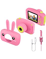 JAMSWALL Kids Camera for Girls,12MP 1080P FHD Digital Video Camera with 28 Funny Filters, Soft Silicone Cute Shell for 3-14 Years Kids (Renewed)