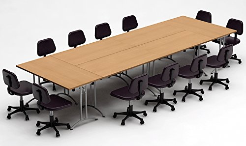 Conference Meeting Seminar Training Folding Tables - ASSEMBLED Commercial Grade Folding Tables Easy Setup - 6pc Combo Model 3345- Color Natural Beech - (Chairs NOT ()