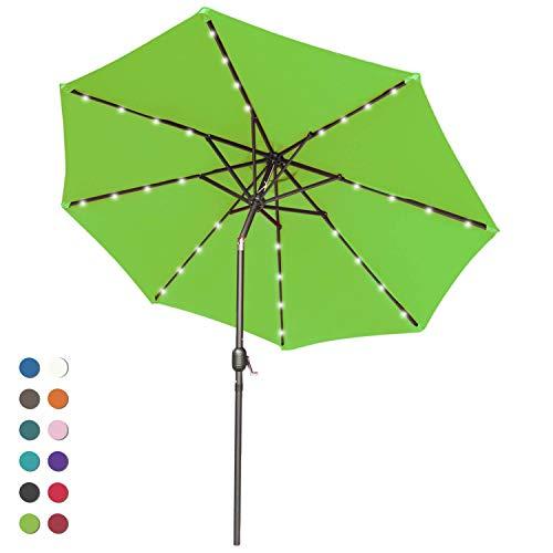 ABCCANOPY Solar Umbrellas Patio Umbrella 9 FT LED Umbrellas 32LED Lights with Tilt and Crank Outdoor Umbrella Table Umbrellas for Garden, Deck, Backyard, Pool and Beach,12+Colors, (Lime Green-1) ()