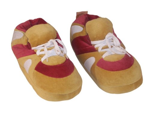 (Happy Feet Wine Red and Brown Sneaker Slipper-Medium)