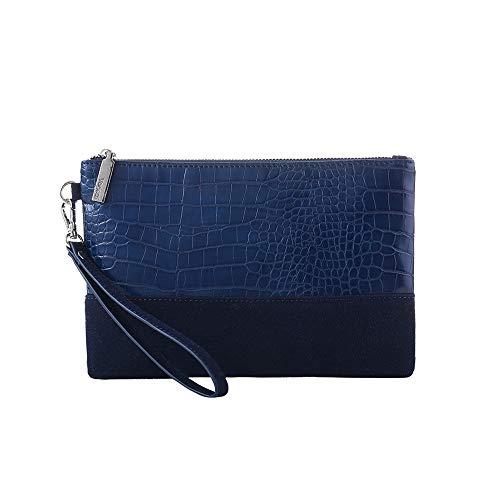 Leopard Print Clutch Purses Bags Women Crocodile Embossed Snakeskin Pattern Wristlet Pouch Wallet Faux Leather(Crocodile/Navy Blue)