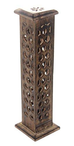 Tower Incense (Govinda Carved Wood Square Tower Incense Burner w/Slide-Out Ash Catcher - Flat Roof Top - Hive Design)