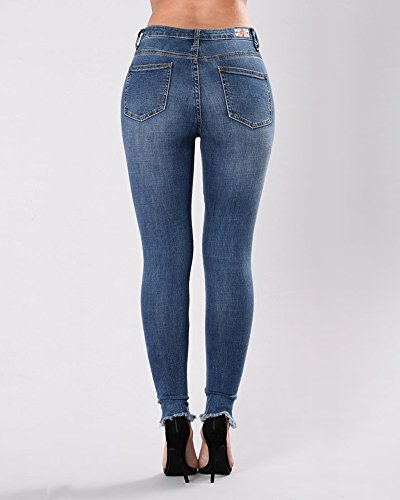 Pantalones Elástico Jeans Vaqueros Skinny up Anyu Azul Para Mujer Marino Bordados Push qwp6IXYxn7