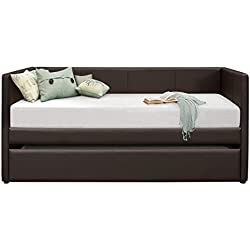 Homelegance Adra Fully Upholstered Daybed with Roll Out Trundle Bi-cast Vinyl Twin, Dark Brown
