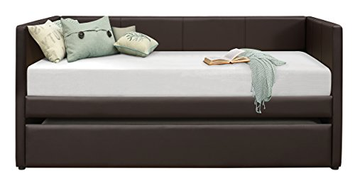 Brown Trundle - Homelegance Adra Fully Upholstered Daybed with Roll Out Trundle Bi-cast Vinyl Twin, Dark Brown