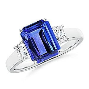 Black Friday - Three Stone Emerald-Cut Tanzanite and Diamond Ring for Women in Platinum (9x7mm Tanzanite)