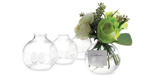 - Two's Company Be Seated Bud Vases/Place Card Holder in Gift Box, Hand Blown Glass, Set of 4