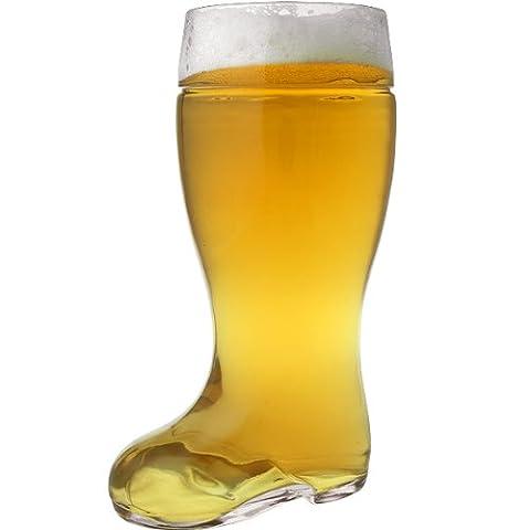 Oktoberfest Style Glass Beer Boot Stein - 2 Liter - German Drinking Boot