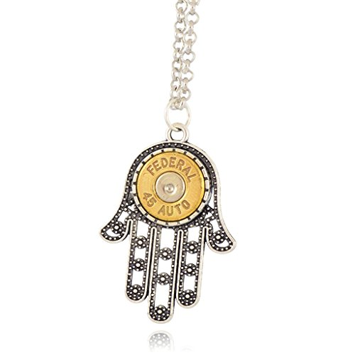 (Little Black Gun 45 Caliber Hamsa Hand Pendant Necklace, Silvertone and Brass Finish)