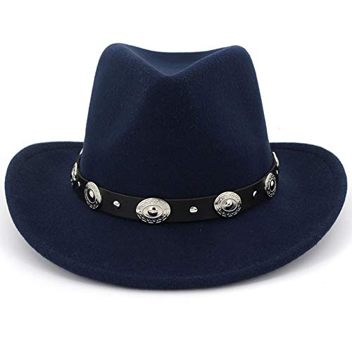 Navy Blue Felt Hat - Lisianthus Men & Women's Felt Wide Brim Western Cowboy Hat Navy-Blue