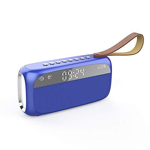 ZXYWW Wireless 5.0 Bluetooth Clock Speaker, Home Subwoofer Mini Alarm Clock, Portable Small 3D Surround Large Volume Colorful Light Speaker,Blue