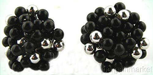 (Vintage Black & Silver seed Bead Cluster Post Earrings For Women)