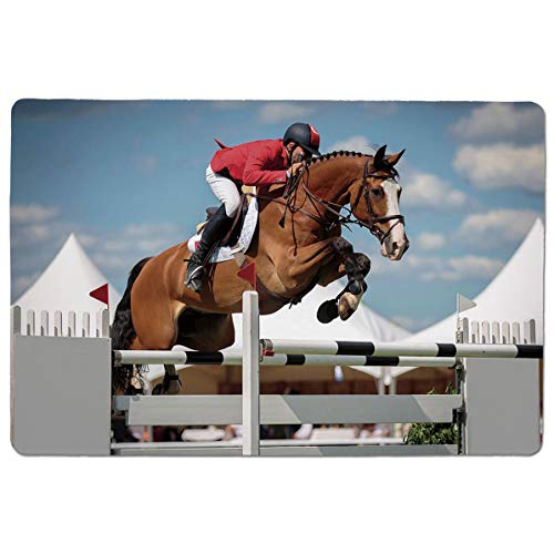SCOCICI Gaming Speed Version Medium Cloth Mouse Mat Jumping Horse and Sportsman Race Competition Performance Success Winning Event Mousepad for Home and Office Not Fad Locking Edge ()