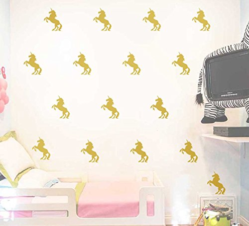 Astra Gourmet 20-pcs Unicorn Wall Decals Stickers, Removable Wall Stickers Murals for Kids Nursery Room Decoration, Gold