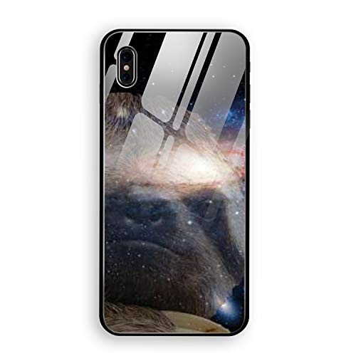 (Meditation Sloth Phone X Case with Phone stents, Soft TPU Frame Luxury Glossy Tempered Glass Shell Slim Thin Bumper for Phone X)