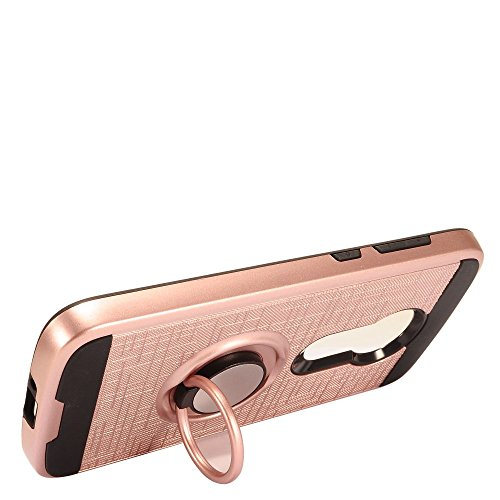 Motorola Moto E5/Moto E5 Play/Moto E5 Cruise Case, Luckiefind Brushed Metal Hybrid Case with Ring Stand Case Accessories (Rose Gold)