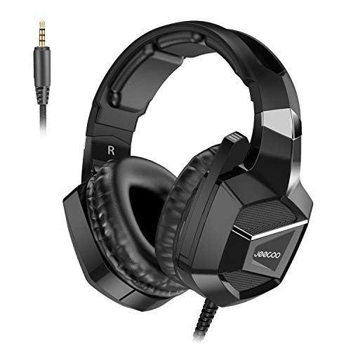 Jeecoo J20 Stereo Gaming Headset for PS4, Pro, Xbox One S, Xbox One Controller, Noise Cancelling Over Ear Headphones with Mic, Bass Surround Soft Memory Earmuffs for PC Nintendo Switch Games ()