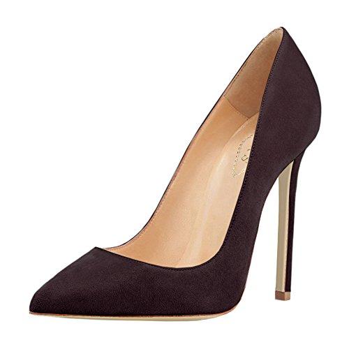 EKS - Zapatos de vestir de charol para mujer Dunkelbraun-Faux Wildleder