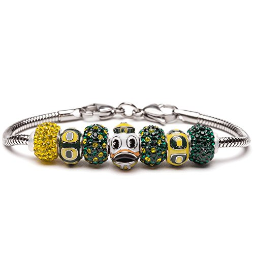 University of Oregon Bracelet   UO Ducks - Bracelet with 3 UO Beads and 4 Crystal Charms   Officially Licensed University of Oregon Jewelry   UO Logo   University of Oregon Gifts   Stainless Steel by Stone Armory (Image #9)