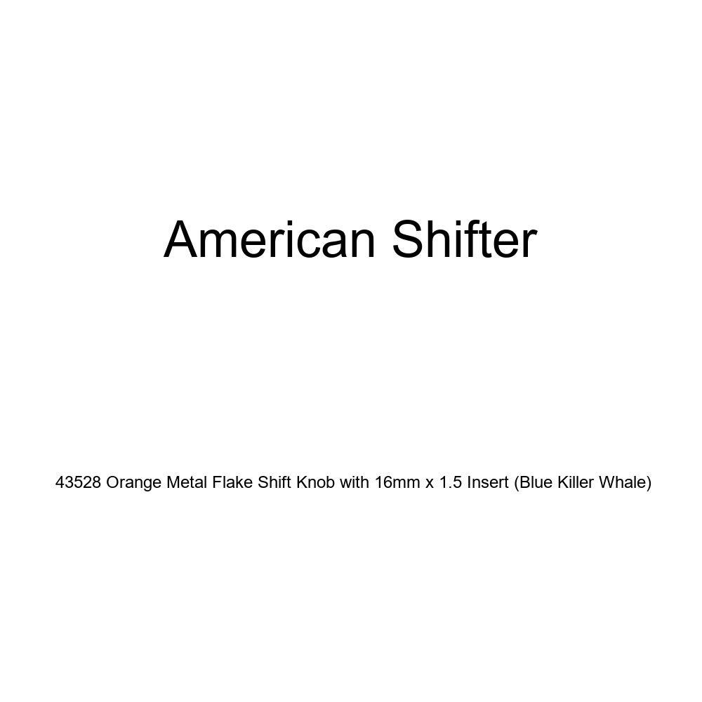 American Shifter 43528 Orange Metal Flake Shift Knob with 16mm x 1.5 Insert Blue Killer Whale