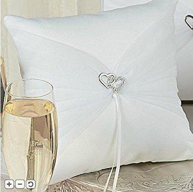 Double Crystal Heart White Satin Wedding Ring Bearer Pillow