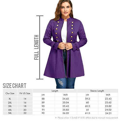 Veste Rosegal Long Violet Trench Boutonnage Évasé Grande Taille Double Hiver Vintage Manteau Femme Automne À Blouson UfCqa