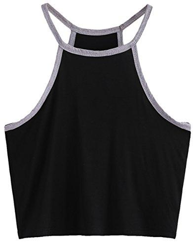 Romwe Womens Junior Teen Casual Sleeveless Solid Cami Top Crop Top