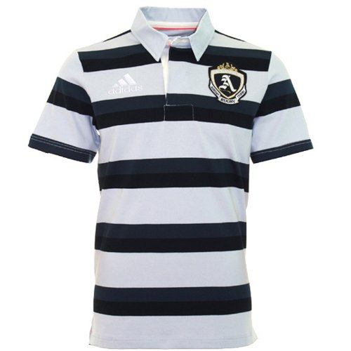 adidas Performance Rugby Union Mens Striped Polo Shirt - Grey - ()
