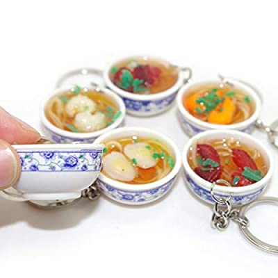 Pursuestar 6pcs Mini Lifelike Simulation Flower Bowl Noodle PVC Delicious Food Cell Phone Charm Bag Strap Pendant: Toys & Games