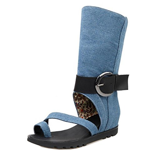 Boots Strap Toe Demin Wedges Blue Open Sandals TAOFFEN Ankle Fashion Women qRT86