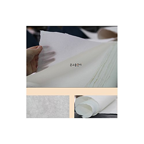 "[10 Pcs] Korean Traditional Mulberry Paper HanJi Handmade Plain Natural White Single Layer 24.8"" x 36.6"" from NaRaOn HanJi"