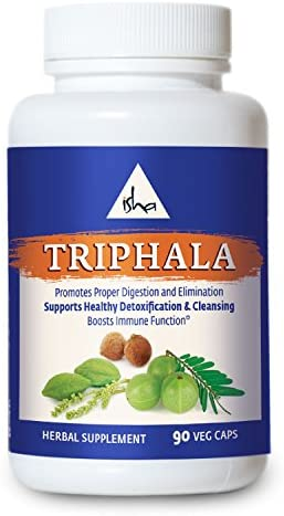 Isha Organic Triphala Capsules – Promotes Digestion and Elimination, Supports Detoxification and Cleansing, Boosts Immunity – Natural Supplement, 500 mg ea 90 Veg caps