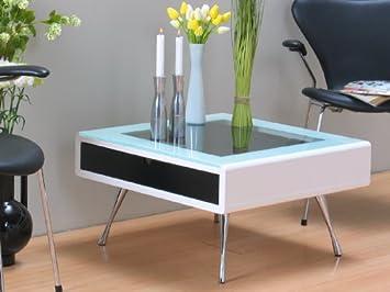 Tisch Rimini Couchtisch Glastisch Weiß Schw Schublade Amazonde