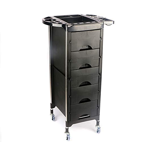 Beauty Storage Trolley Hairdresser Maintenance Carts Hairdressing Multi-Layer Drawer Tool Car Hair Salon Multi-Function Perm Hair Dyeing Equipment Cart Black by Beauty Storage Trolley (Image #3)