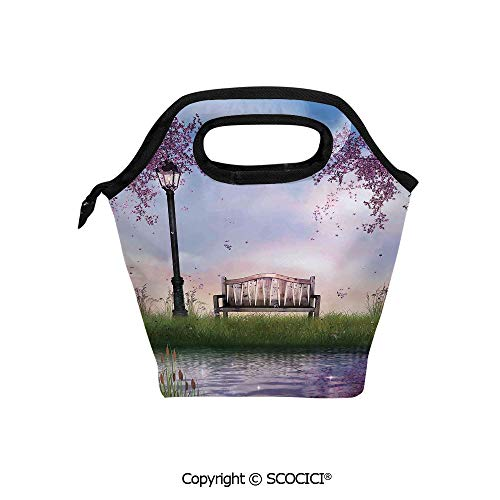 (Reusable Printed Design Lunch Bag Bench on Flowing River with Lightpost Crescent Moon Lavender Trees and Grass Illustration Lunch Tote bag for Work and School.)