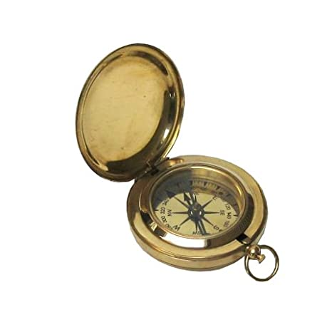 Brass Old Fashioned Compass Cover And Face 3quot Nautical General Outdoor