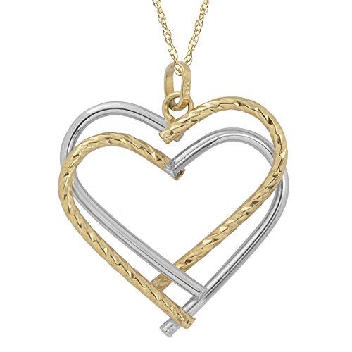 (Kooljewelry 10k Two-Tone Gold Double Heart Pendant Rope Chain Necklace (18 inch))