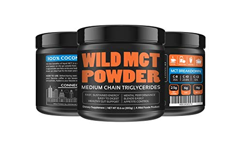 Wild MCT Oil Powder 100% Coconut C8 + C10 Non-GMO Brain Fuel Great For Smoothies, Coffee, Keto, Protein Shakes - 10z - 33 Servings