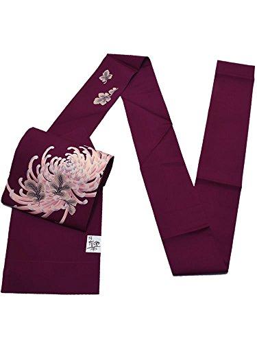 器用洗うワット[ 京都きもの町 ] 紋ちりめん 正絹名古屋帯 深紫色 菊花