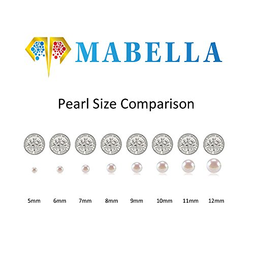 MABELLA 925 Sterling Silver AAA Genuine Freshwater Cultured Pearl White Button Stud Earrings Mother's Day Gifts for Women 8mm